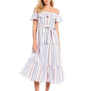 English Factory Off Shoulders Striped Maxi Dress